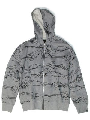 Smoke All-over Zip Grey Hoodie
